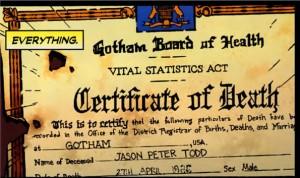 Jason Todd Death Certificate