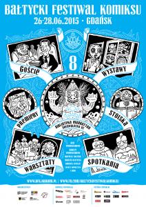 Plakat Bałtyckiego Festiwalu Komiksu autorstwa Łukasza Kowalczuka